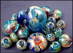 Glass Lampwork Beads and Bottle