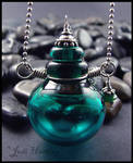 Delphin - Lampwork Glass Bottle Pendant