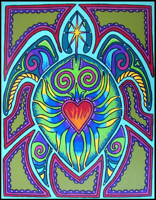 Honu - Turtle Totem Acrylic Painting on Canvas by andromeda