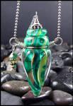 Green Goddess - Lampwork Bottle