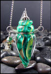 Green Goddess - Lampwork Bottle