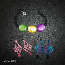 Tatted bracelet and earrings by tattfae