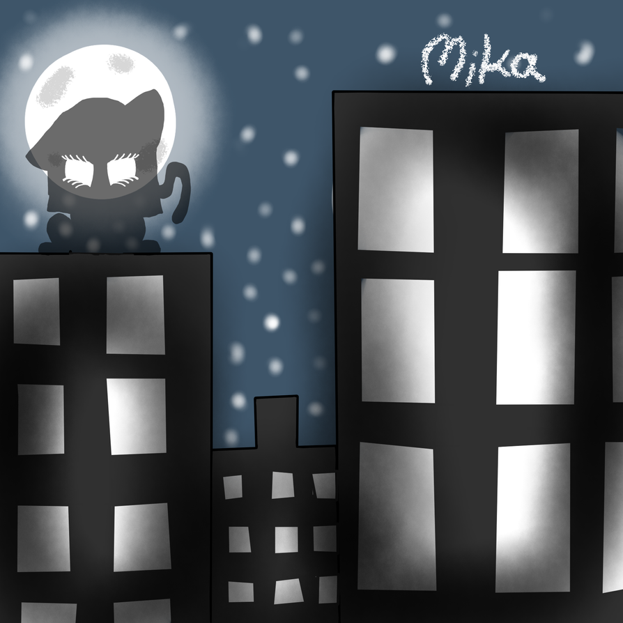 Cat in city by MikaMilaCat