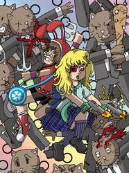 Rabbit and Schoolgirl VS The BusinessCats