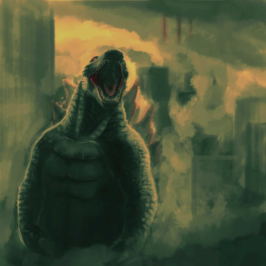Godzilla painting (more) complete by symbolsofperfection