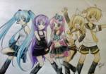 Miku, Chloe, Setsuko, Rin and Len