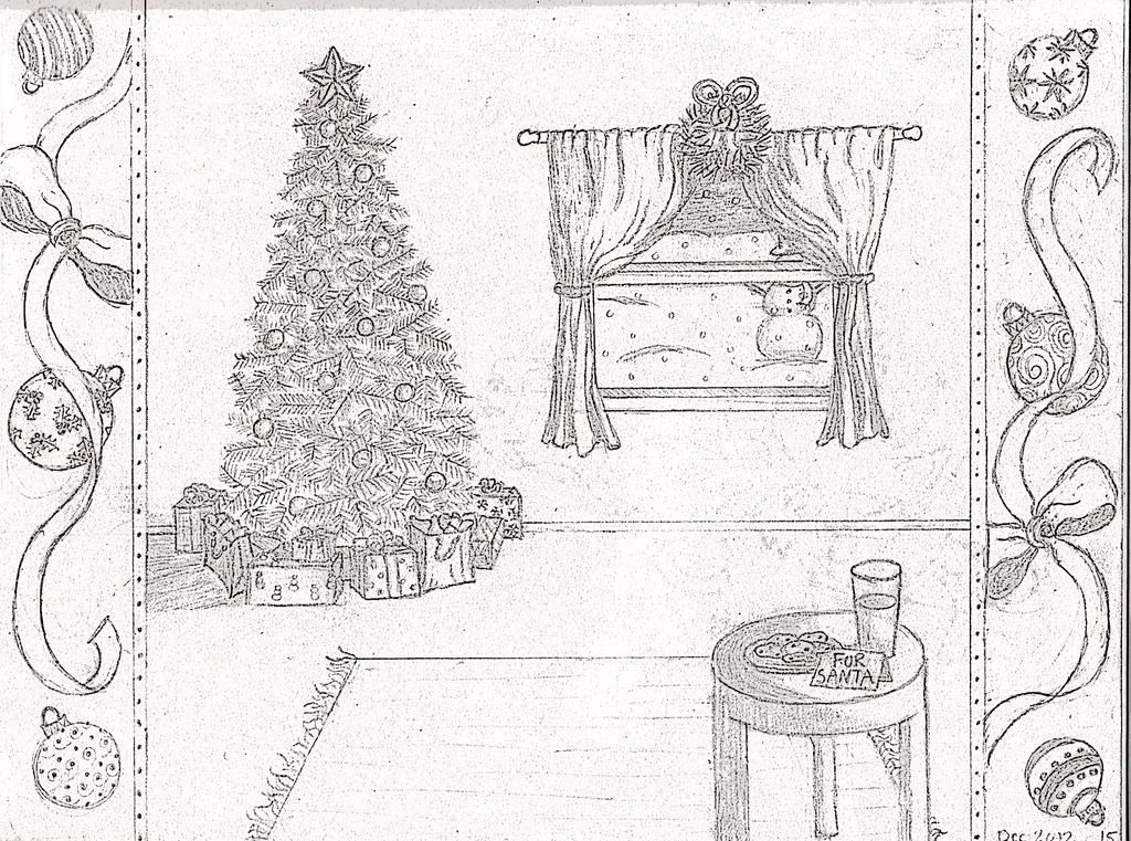Christmas Scene Drawing.Christmas Scene Drawing By Shadow And Espio On Deviantart