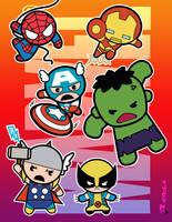 Marvel  (chibi) Super Heroes by aerlixir