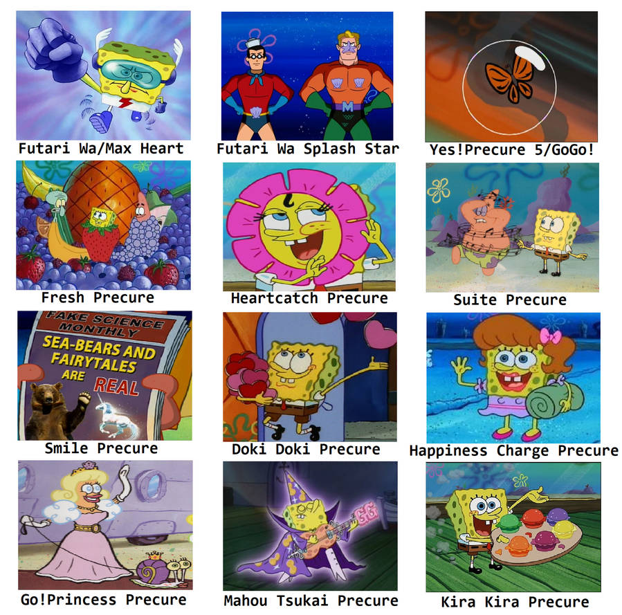 Spongebob comparison meme precure series by blaze on fire