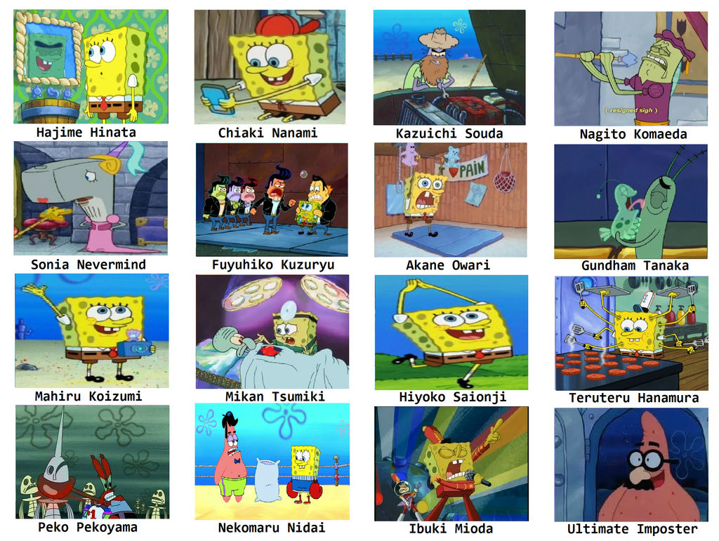 Super danganbob 2 spongebob comparison meme by blaze on fire