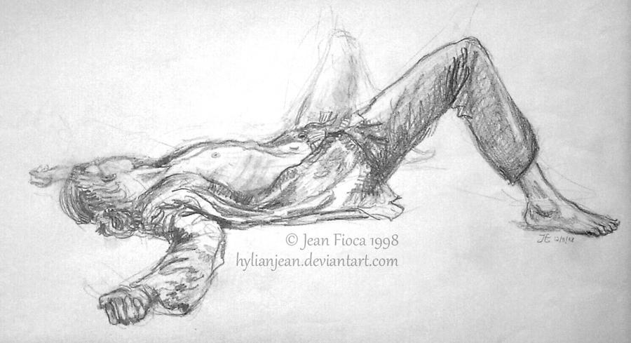 laying down man pencil drawing by hylianjean on deviantart