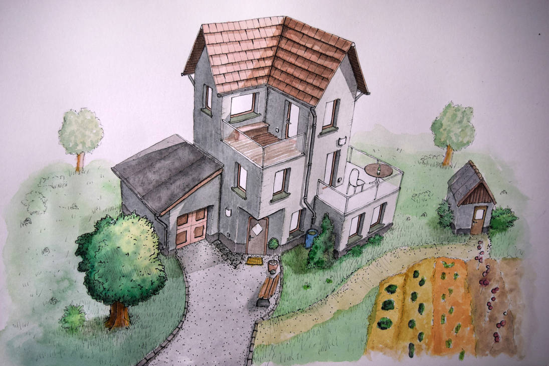 Haus in Aquarell - House with watercolor by StampferAlex