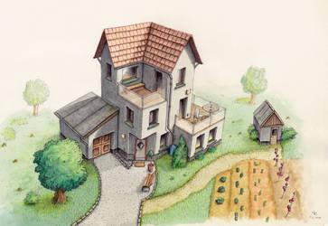 Haus in Buntstift - House with crayon by StampferAlex