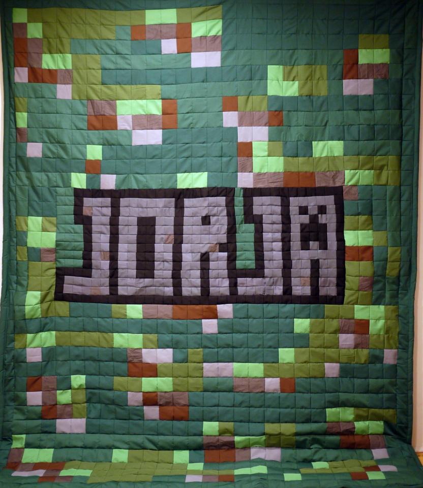 Minecraft Grass Texture Name Quilt by 8bitHealey