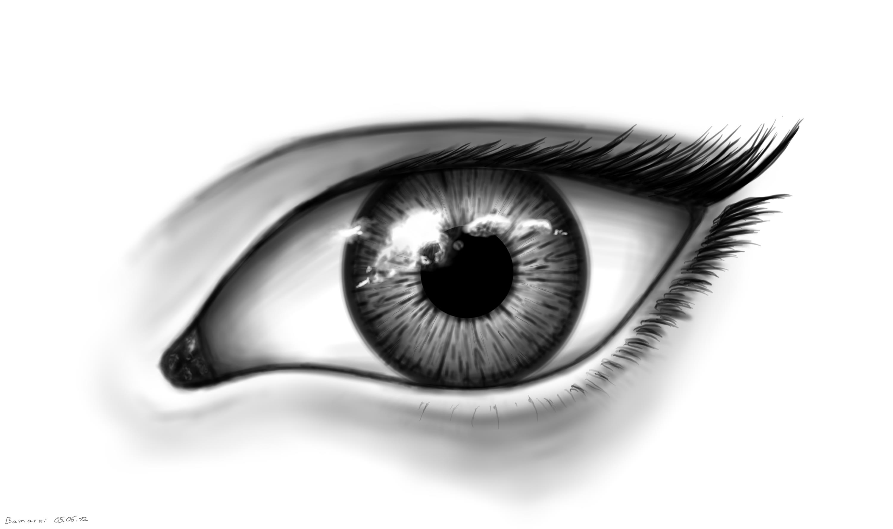 female black and white eye by LoccoRicoCool Black And White Drawings Of Eyes