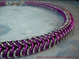 Silver and Violet Roundmaille BDSM Slave Collar by aislinnmarie
