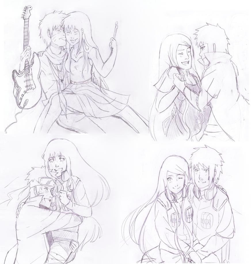 Naruhina and Minakushi sketches by Artict