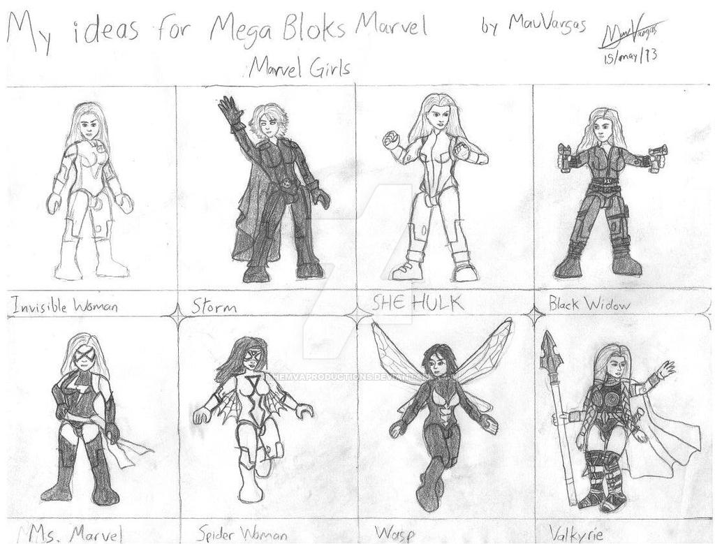 My Ideas For Mega Bloks Marvel Girls Sketch By Themvaproductions