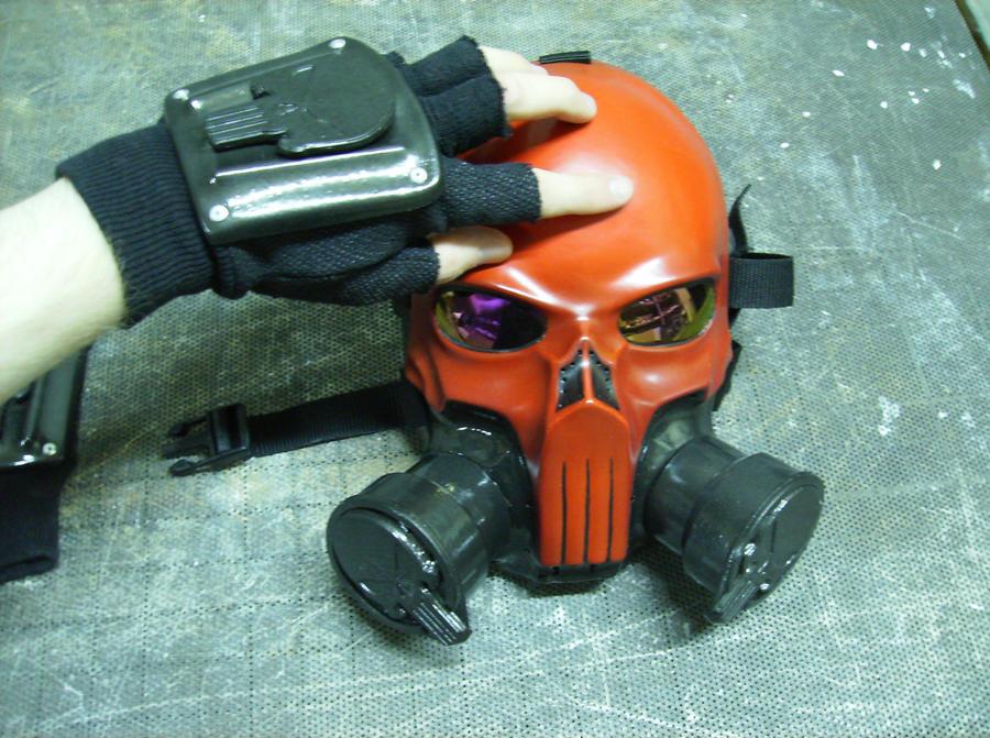 Red punisher gas mask + gloves by DarkAsylumxxx