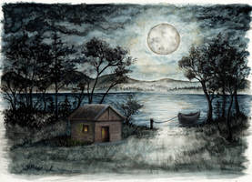 Moonlit shack