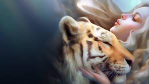 Tiger And Girl wallpaper