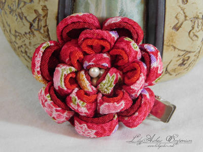 Red Peony Clip by LilyAshes-Emporium