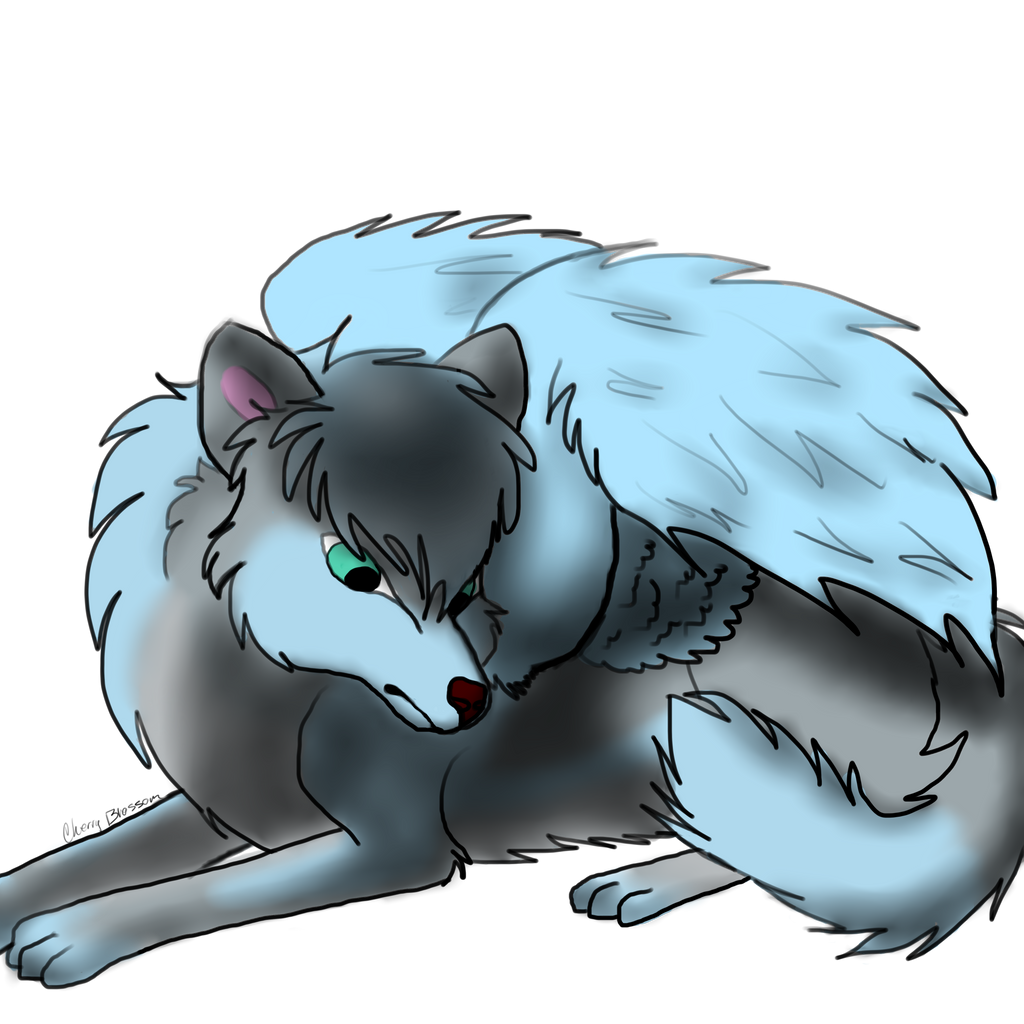 anime wolves with wing...