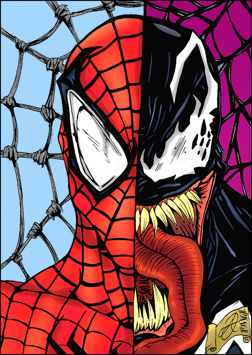 Spiderman Face Line Drawing : Spider man venom darkartistdomain and me by pascal