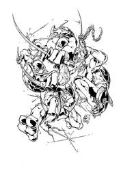 tmnt in action by marvelmania inked by gz12wk