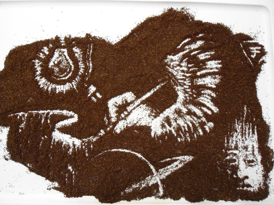 Ground coffee art by tomhanch on deviantart for Painting with coffee grounds