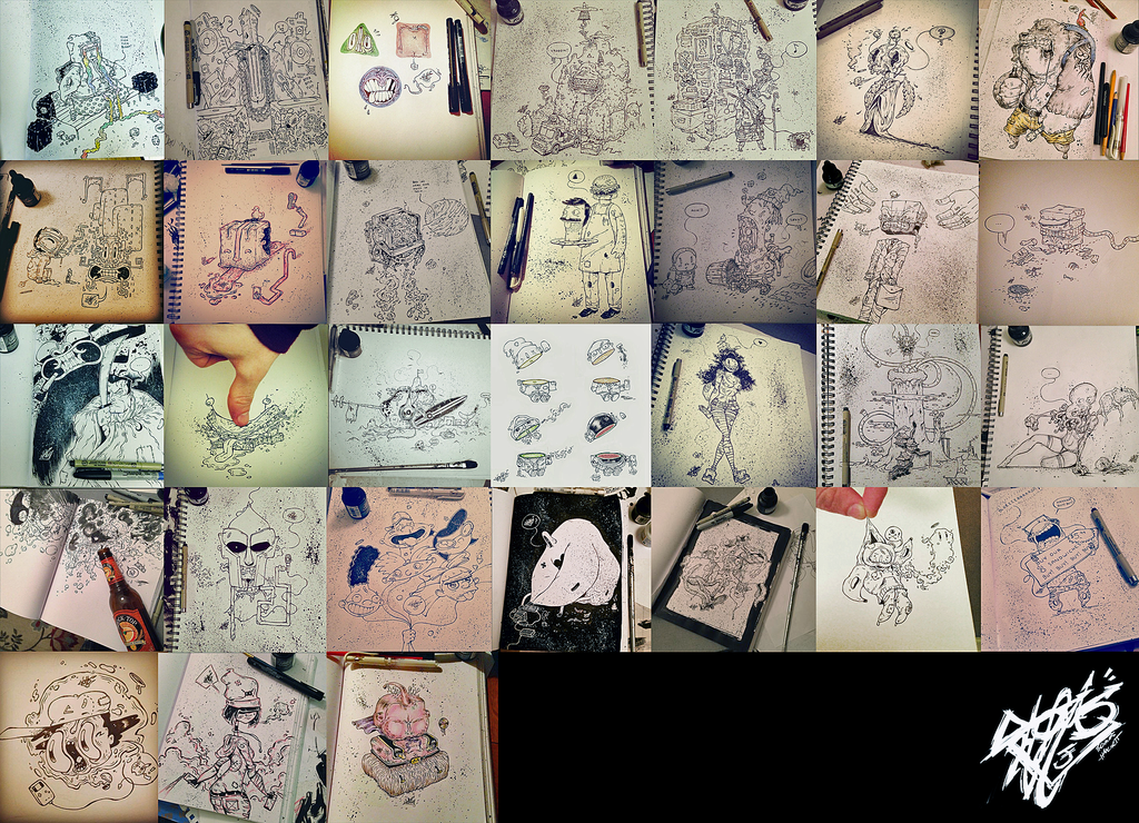 January Ink Drawings by tomhanch
