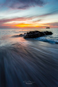 Sunset in the waves