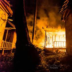 Burning bungalow