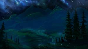 Night mountain valley