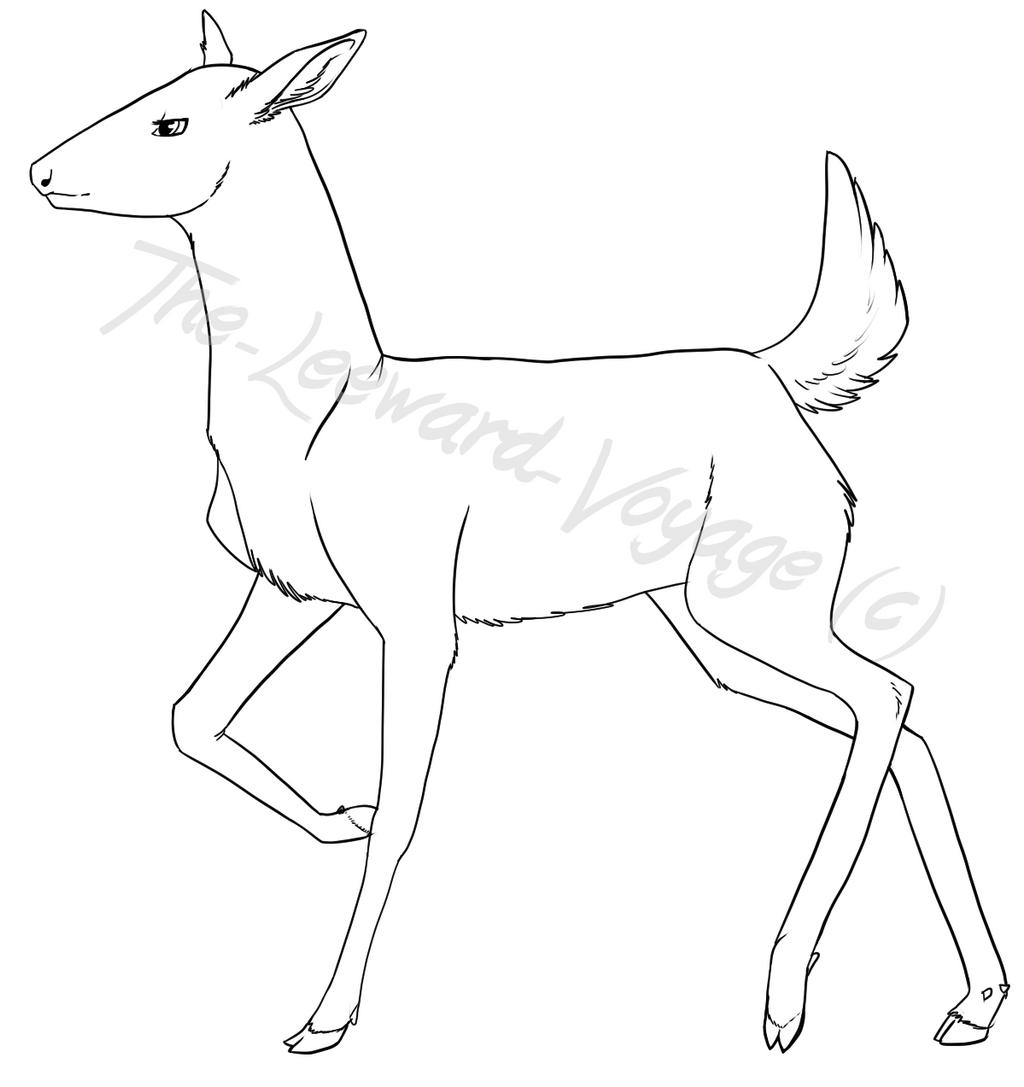 Line Drawing Deer : Female deer lines by the leeward voyage on deviantart