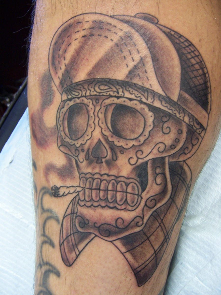 gangsta skull with hat tattoo the image kid has it. Black Bedroom Furniture Sets. Home Design Ideas