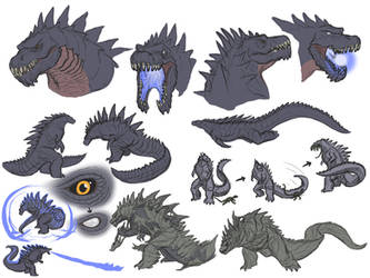 KR Godzilla Sketches by Transapient