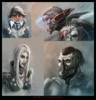 Random cyberpunk characters by AspectusFuturus