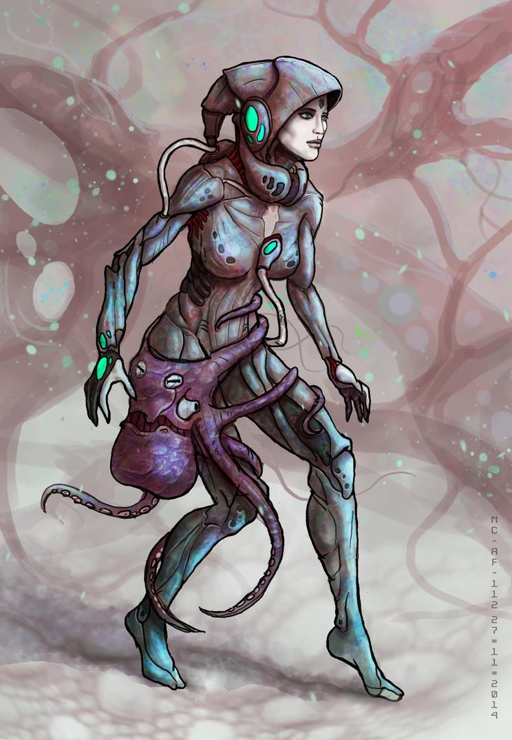 Biopunk character concept by AspectusFuturus