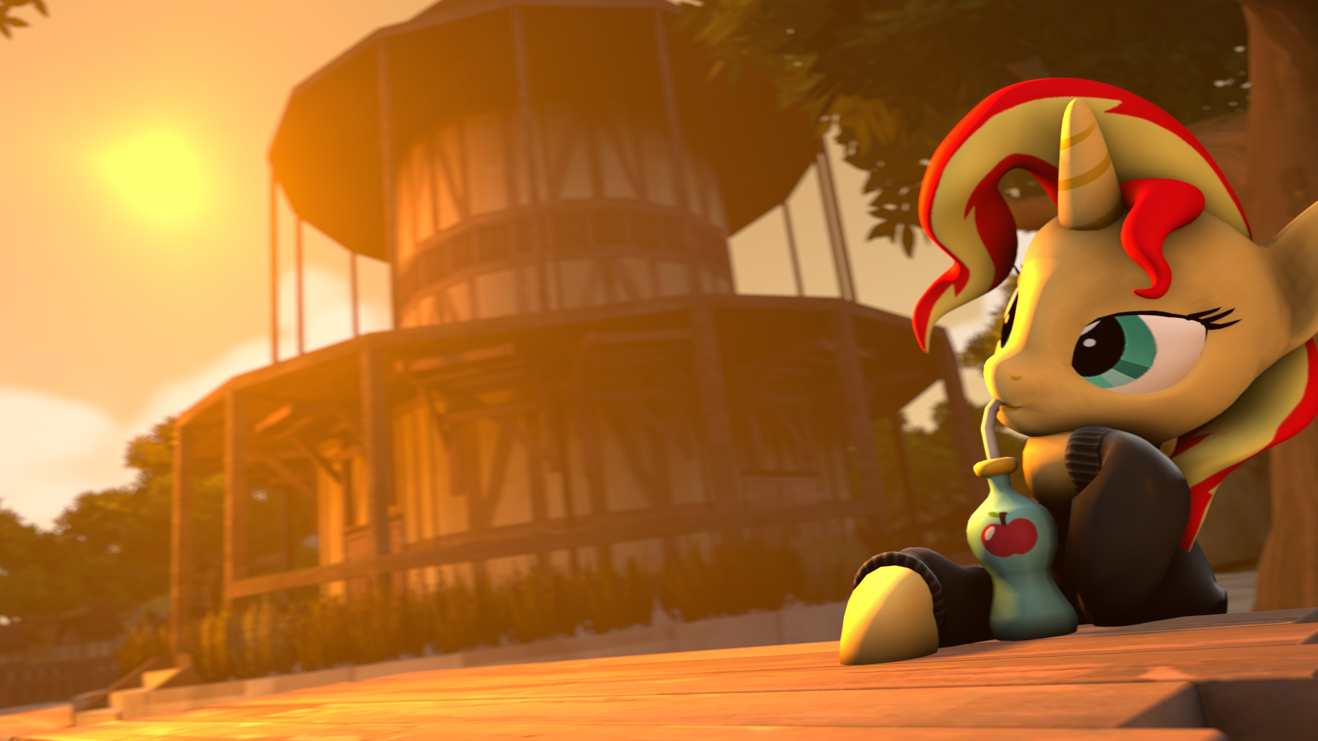 _sfm__drinking_some_juice_in_the_sunset_