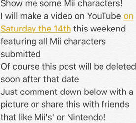 Comment a Mii or share! by LbelyYoutube