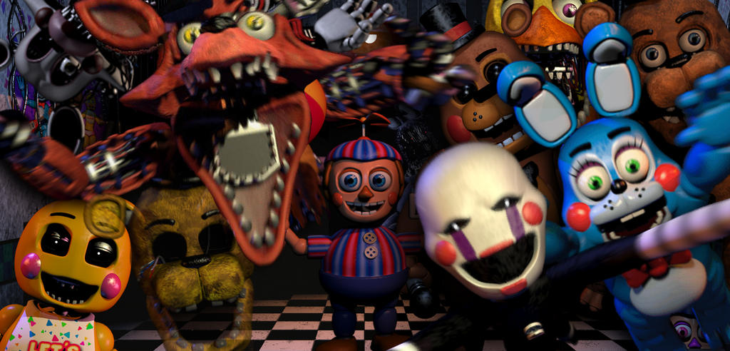 all animatronics in the office by primeyt on deviantart