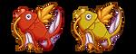 Magikarp and Shiny Magikarp by SeaJelli