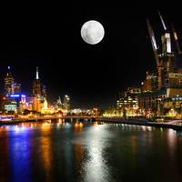 Moon over Southbank by KarlDawson