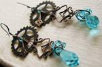 Victorian wire wrapped swarovski blue earrings