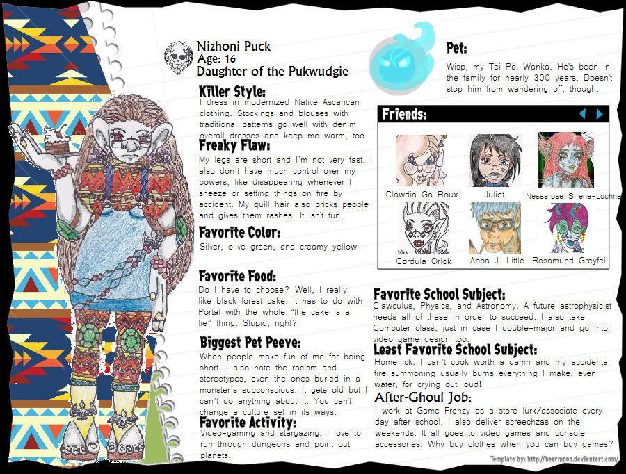 Nizhoni Puck Monster Bio by leavesofthree
