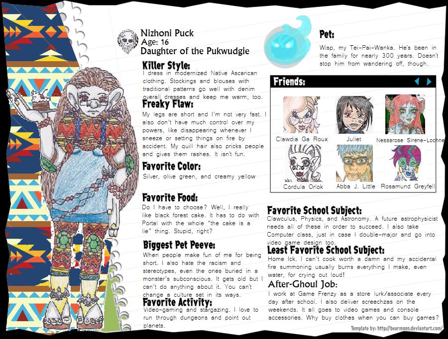 Nizhoni Puck Monster Bio by leavesofthree