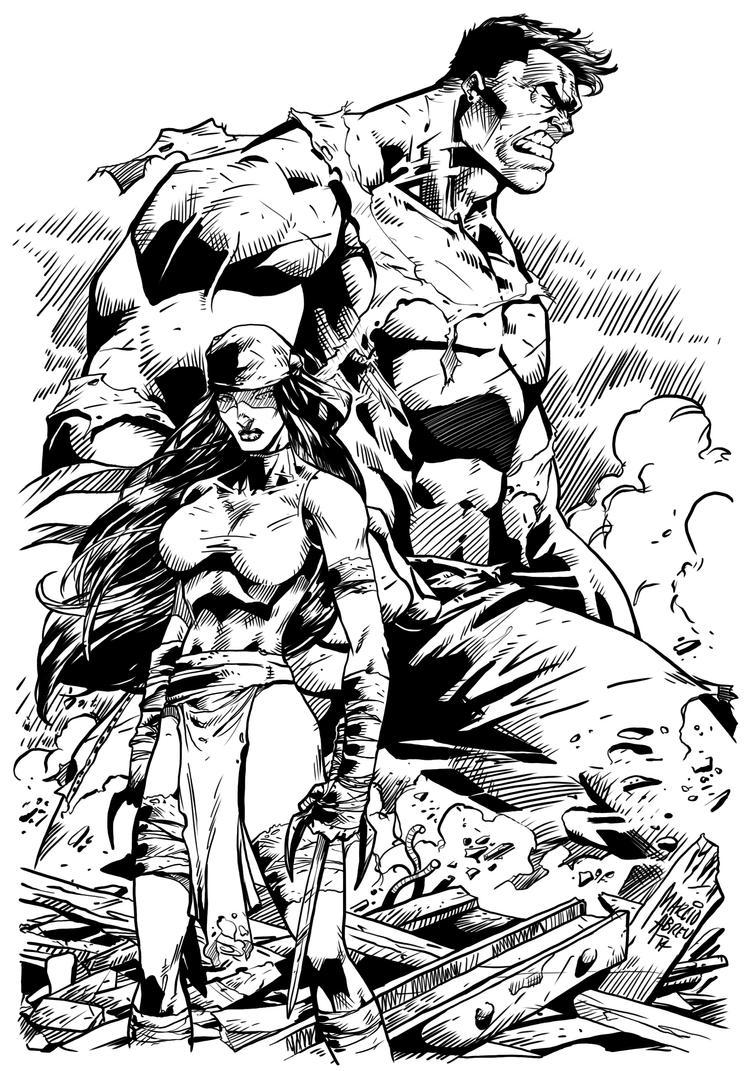 Elektra Hulk Inked! by thecrow1299