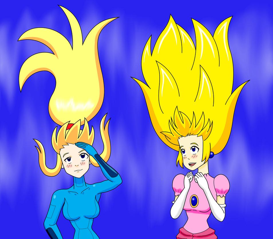 Samus and Peach Wind-Swept Hair by MegatronMan