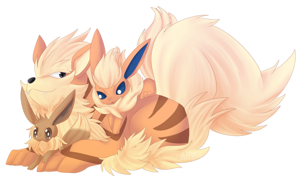 Arcanine and Flareon by Zitronenhamster